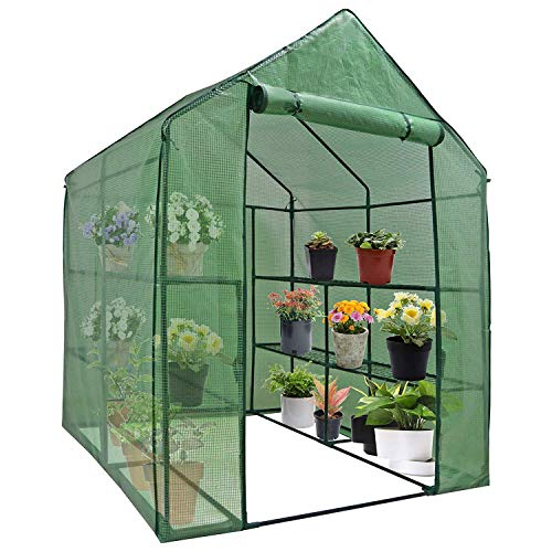 HomGarden Mini Walk-in Greenhouse 2-Tier 8 Shelves Plant Flower Tent Lawn Patio Garden Backyard Plant Shelf Green House w/PE Cover and Zipper Door
