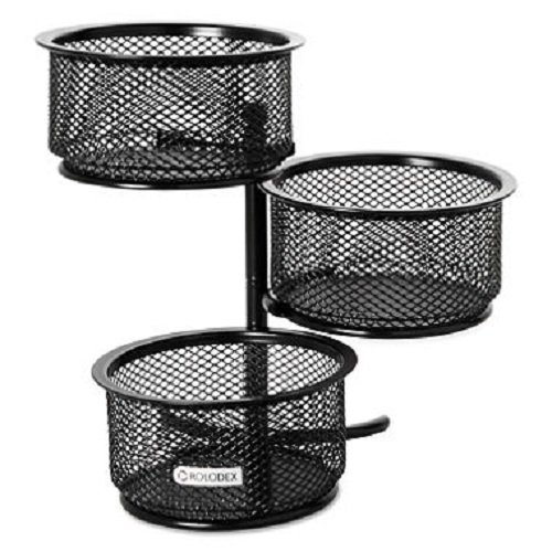 Rolodex - 3 Tier Wire Mesh Swivel Tower Paper Clip Holder, 3 3/4 x 6 1/2 x 6 - Black - Paper Clip Dish