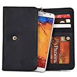 Kroo Oppo Mirror 3 5 5s, N1 mini, R1S, R1x, R2001 Yoyo, R2007, R3, R5s R5, R7 lite R7, Orange Reyo, Rono Black Genuine Leather Wallet with Strap and Coin Pocket [ LIMITED EDITION]