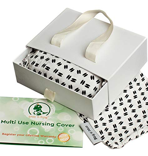 Croc n frog 6-in-1 Nursing Cover for Breastfeeding, Baby CarSeat Cover, Carseat Canopy, Shopping Cart Cover, High Chair Cover or Infinity Scarf. Comes in Gift Pack for Baby Shower Gifts!