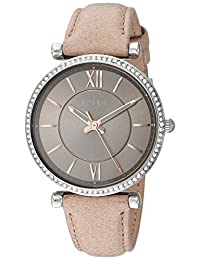 Fossil Women's 'Carlie' Quartz Stainless Steel and Leather Casual Watch, Color:Silver-Toned (Model: ES4343)