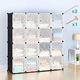 Wardrobes Closet,Portable Closet for Bedroom,Plastic Closet Honey Home DIY Modular Shelving Storage Organizer Cabinet with Easy Closed Doors- 16 Cubes