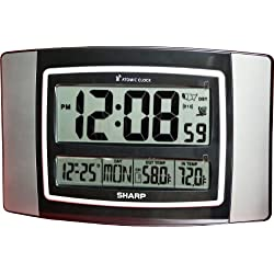 Sharp SPC900WG Digital Atomic Wall Clock Large Numbers and Wireless Indoor/outdoor Temperature