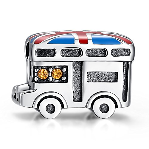 Glamulet Art Women's 925 Sterling Silver Yellow Crystal Union Jack Van Heart Bead Charm Fits Pandora Bracelet