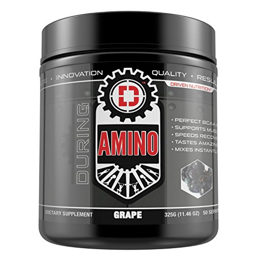 DRIVEN AMINO-BCAA's enhanced with Glutamine- Aids in muscle recovery, increase muscle protein synthesis, and improve lean body mass-Perfect 2:1:1 BCAA ratio- 50 servings-(Grape) by Driven Nutrition