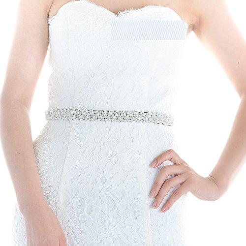 Top Queen Women's Pearls Bridal Sash Belt Pearls Wedding ...