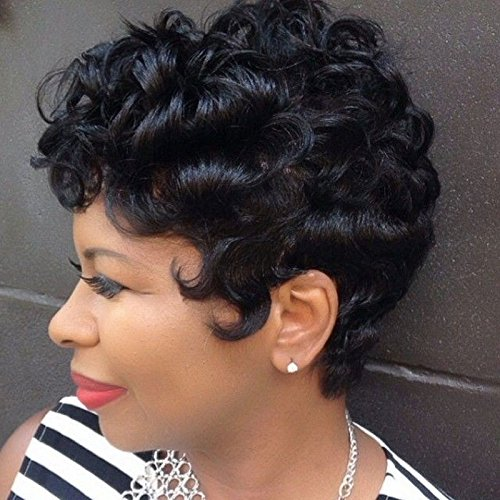 Search : BeiSD Short Ombre Brown Black Curly Hair Wigs For Black Women Synthetic Short Wigs For Black Women African American Women Wigs (AS-713)
