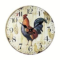Eruner Antique Style kitchen Clock, 14-inch *Rooster* Vintage Wood Wall Clock (C-43)