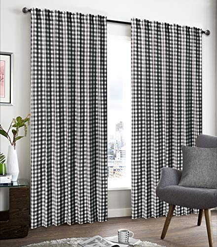 Cotton Curtains in Gingham Plaid Check Fabric 50x108 Black/White,Farm House Curtains,Cotton Curtains,2 Panels Curtain,Tab Top curtains,Curtains Set of 2,Curtain Drapes Panels,Darkening window -