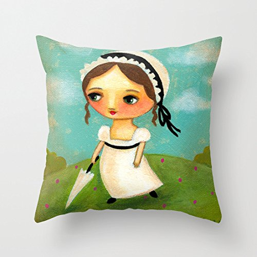 Cute Jane Austen Decorative Throw Pillow Covers Canvas Zi...