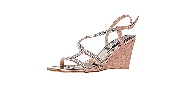 SheSole Women's Rhinestone Wedge Sandals Summer Wedding