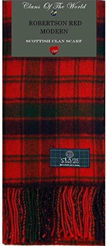 - Robertson Red Modern Tartan Clan Scarf 100% Soft Lambswool