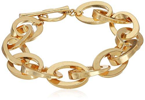 (Steve Madden Women's Oval Link Yellow Gold-Tone Bracelet )
