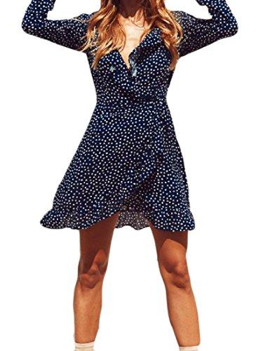 Evening Dress Ruffled Blue Dot Chiffon Irregular Party Sexy Coolred Women 8gpqYY