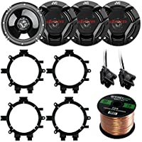 Car Speaker Package Of 4X JVC CS-DR620 6.5 Inch 300 Watt 2-Way Audio Stereo Coaxial Speakers Bundle Combo With Full Size Speaker Adaptors And Wiring Harness + 50Ft Wire For 1995-2009 GM Vehicles