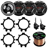 Car Speaker Package Of 4X JVC CS-DR620 6.5' Inch 300 Watt 2-Way Audio Stereo Coaxial Speakers Bundle Combo With Full Size Speaker Adaptors And Wiring Harness + 50Ft Wire For 1995-2009 GM Vehicles