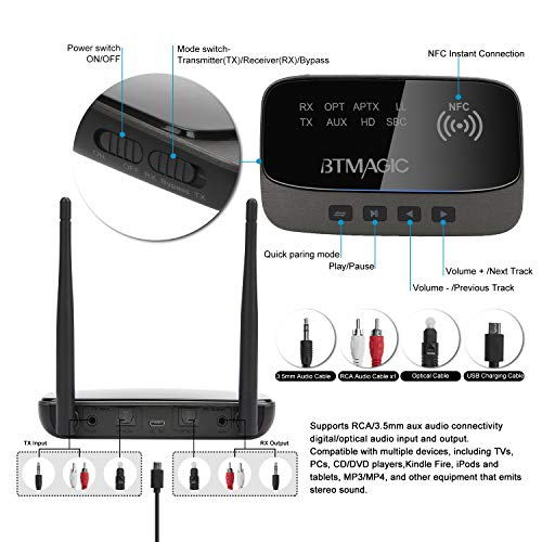 BTMAGIC Bluetooth 5.0 Transmitter Receiver 265FT Long Range 3 in 1 Bluetooth Audio Adapter aptX HD & aptX Low Latency, Optical RCA AUX 3.5mm for TV Home Stereo PC Headphone/Speaker, USB Rechargeable by BTMAGIC (Image #7)