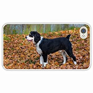 iPhone 4 4S Black Hardshell Case dog grass leaves autumn White Desin Images Protector Back Cover