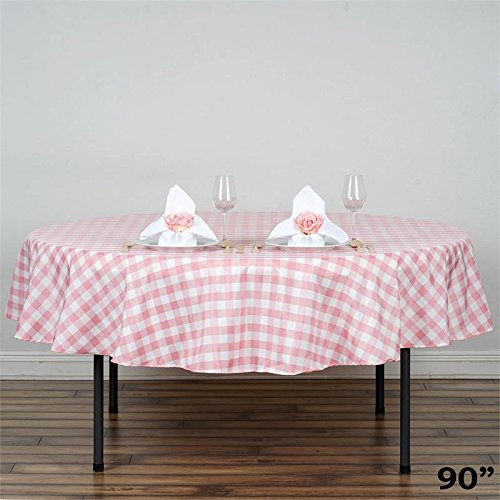 BalsaCircle 90-Inch Rose Quartz Pink Round Gingham Checkered Polyester Tablecloth Table Linens Wedding Party Events Decorations ()