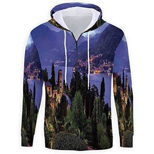 (iPrint Men's Full-Zip,Italian,Hoodie)