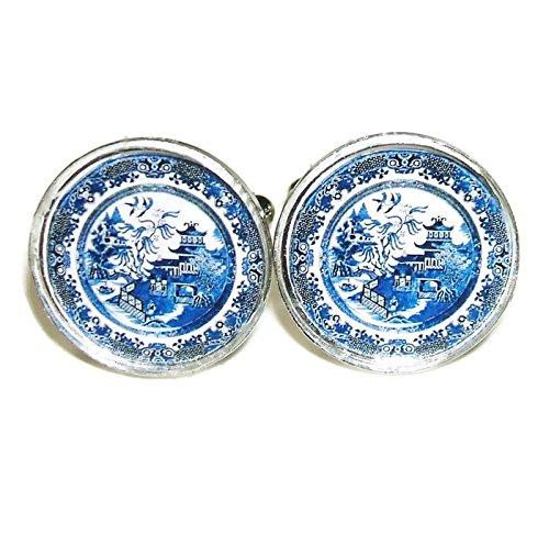 Silver Cufflinks Pattern - BLUE WILLOW PATTERN CUFFLINKS PLATE DESIGN CUFF LINKS SILVER PLATED
