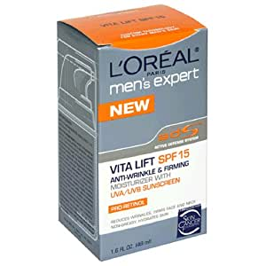L'Oreal Men's Expert Vita Lift Anti-Wrinkle and Firming Moisturizer with UVA/UVB Sunscreen, SPF 15, 1.6-Ounce Tube (Pack of 3)