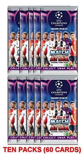 (2018/2019 Topps UEFA CHAMPIONS LEAGUE Match Attax Soccer Cards TEN (10) SEALED PACKS. USA SELLER! Look for Stars Like Messi, Ronaldo, Neymar, Pulisic, Kane, Griezmann +++)
