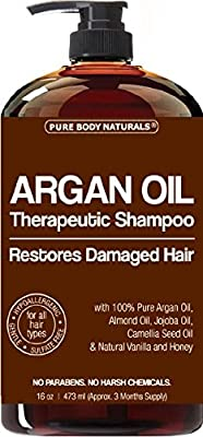 Argan Oil Shampoo Restores Damaged Hair by Pure Body Naturals