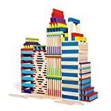 102 Pieces Building Blocks Stacking Game Wooden Construction Toys Building Planks Set for 3 4 5 6 Year Old Kids Children Boys and Girls