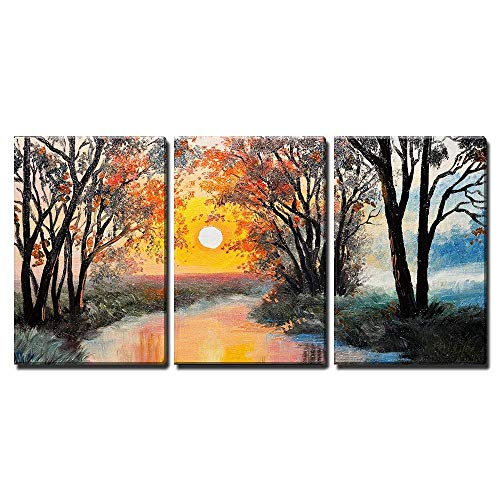 wall26 - 3 Piece Canvas Wall Art - Oil Painting on Canvas - The River, Watercolor, Wallpaper, Tree - Modern Home Decor Stretched and Framed Ready to Hang - 24