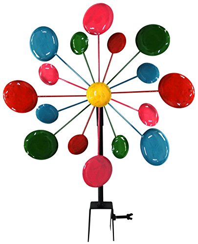 (Alpine Corporation JUM120 Multi-Color Metal Circles Windmill with Stake & Fence Topper, Multi Color, VALUE NOT)