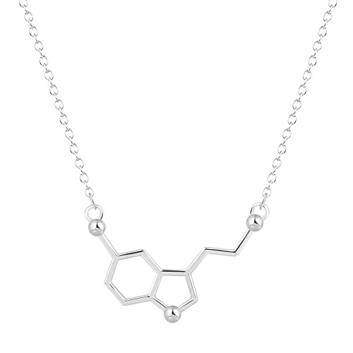d86afb8389532 Silver Serotonin Molecule Pendant Necklace,Organic Chemistry Jewelry for  Science Lovers,Gift for a Science Student