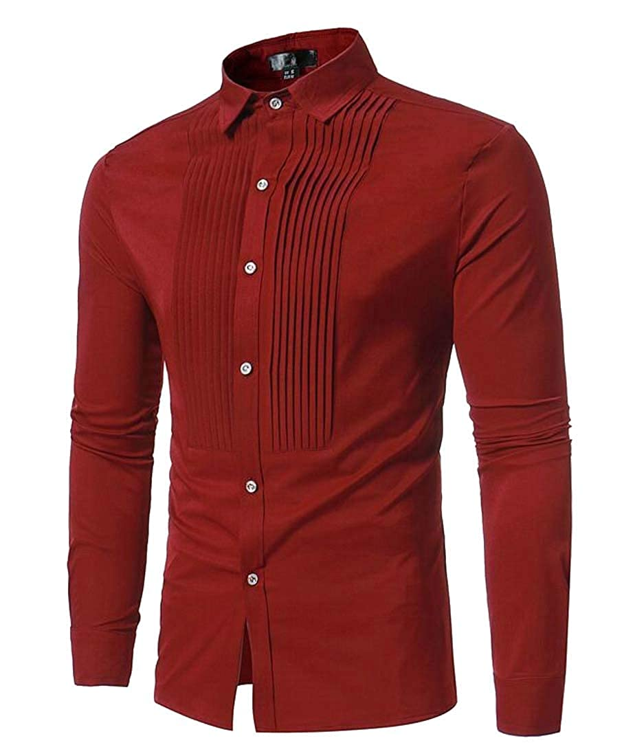 Hajotrawa Mens Business Lapel Regular Fit Long Sleeve Pleated Button Front Shirts