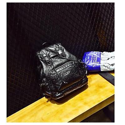 LHWBA Women Backpack PU All Seasons Casual Round Zipper Black outlet