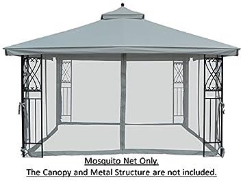 Universal 10 X 12 Mosquito Netting For Gazebo Canopy GREY
