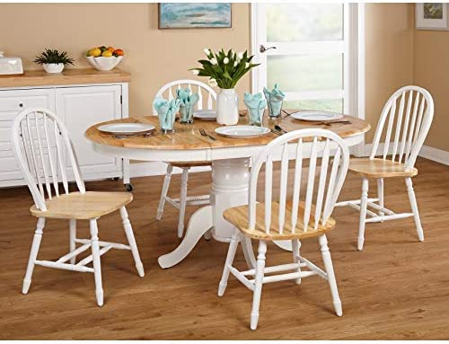 Amazon Simple Living Farmhouse 5 Piece White Natural Dining Room Set Country Style Table And Chairs Garden Outdoor