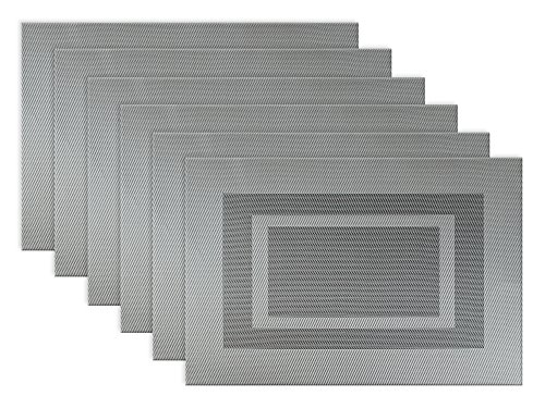 "DII Everyday, Easy to Clean Indoor/Outdoor Woven Vinyl Double Border Placemats, 13x18"", Gray - Set of 6"