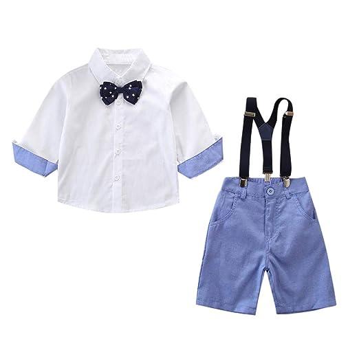 a77e4711eca0 Amazon.com: Dsood 2pcs Set Newborn Baby Boys Clothes Sets Bow Ties Long  Shirts + Suspenders Pants Toddler Boy Gentleman Outfits Suits: Clothing