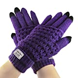 Electronics Women Best Deals - Fakeface Knitted Wool Touch Screen Texting Gloves for All Touchscreen Electronic Devices for Women/Ladies/Girls; Great Gift for Christmas/Birthday/New Year (Purple)