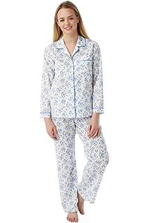Ladies Poly Cotton Floral sprig Long Sleeve Pyjamas Nightdress PJ Nightwear  Set Blue Lilac Pink Plus Size 16 18 20 22 24 26… 246455c18