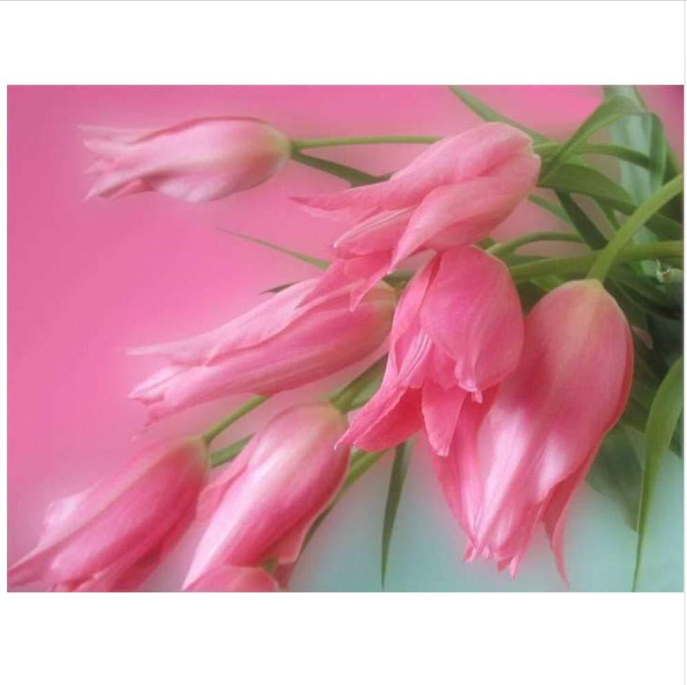 CZYSKY Dekoration Malerei Für Rosa Lilie DIY Diamant Stickerei Kreuzstich Kits Blumen Runde Mosaik Handwerk Bild Von Strasssteinen