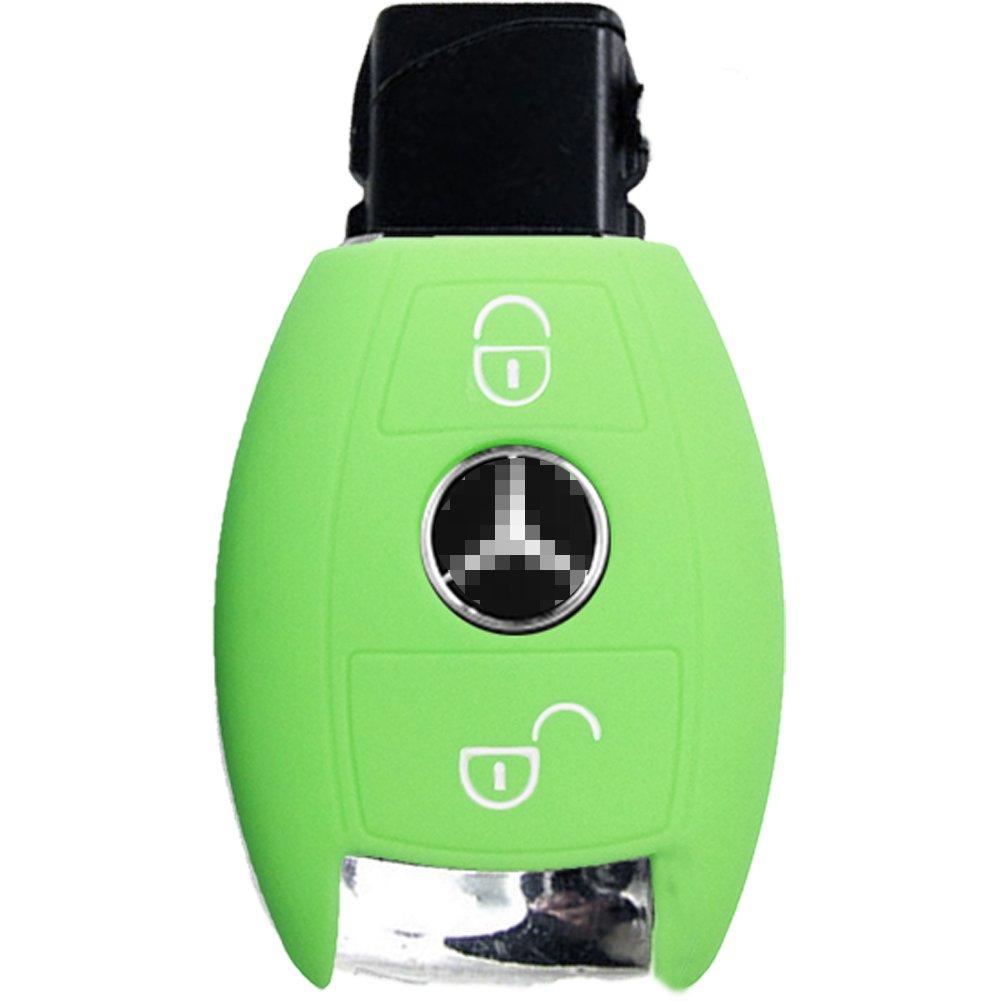 Nicky Azul Funda de Silicona para Mercedes Benz 2 Botones Llave Cubierta de Control Remoto Autom/ático Keyless Go solamente