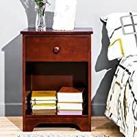 Haper & Bright Designs Wooden Accent Table Nightstand Side Table with Storage Shelf and Drawer for Bedrooms, Walnut Finish