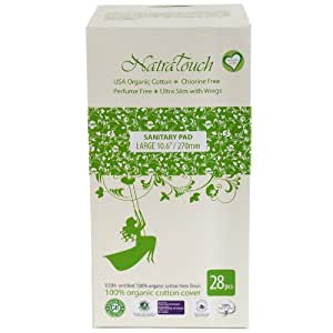 Natratouch Organic Cotton Sanitary Pads Ultra Slim with Wings 28 piece (Large)