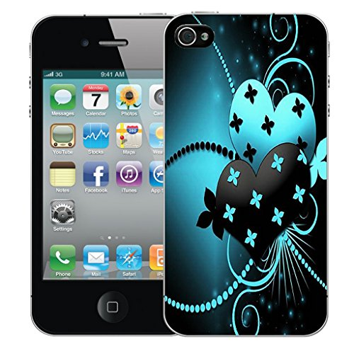 Mobile Case Mate iPhone 4 Silicone Coque couverture case cover Pare-chocs + STYLET - Blue Dual Love pattern (SILICON)