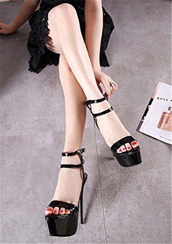 Soiree Bride Aiguille Talon Sexy High Escarpins Epais Noir Plateforme YOGLY Chaussures Femme Heels Club Cheville UaOxgq