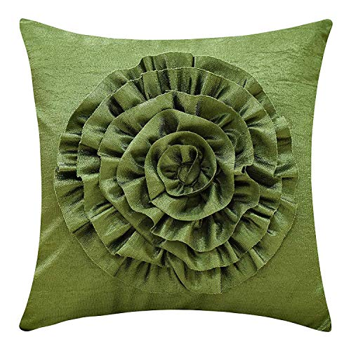 The White Petals Moss Green Throw Pillow Cover (3D Flower, 18x18 inch, Pack of 1)