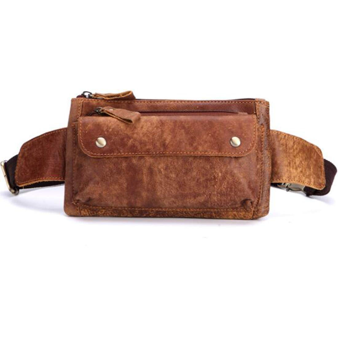 Carriemeow Body Bag Waist Bag West Pouch 2way Mens Multifunction Cow Leather Made Color : Brown