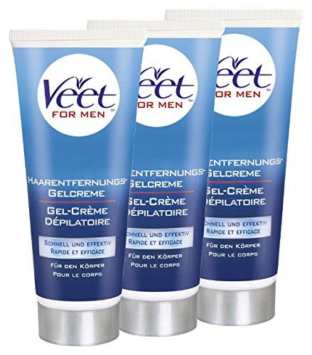 Veet For Men Hair Removal Gel Cream Triple Pack by Veet: Amazon.es: Salud y cuidado personal
