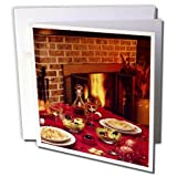 3dRose TDSwhite – Farm and Food - Food Dinner Table Set Fireplace Background - 12 Greeting Cards with Envelopes (gc_285137_2)